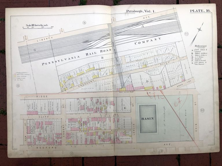 1889 large double-page color map of STRIP DISTRICT AND ABOVE, Pittsburgh. Griffith M. Hopkins.
