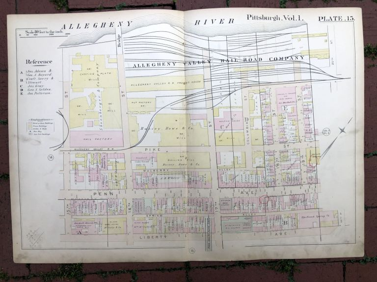 1889 large double-page color map of STRIP DISTRICT, Pittsburgh. Griffith M. Hopkins.
