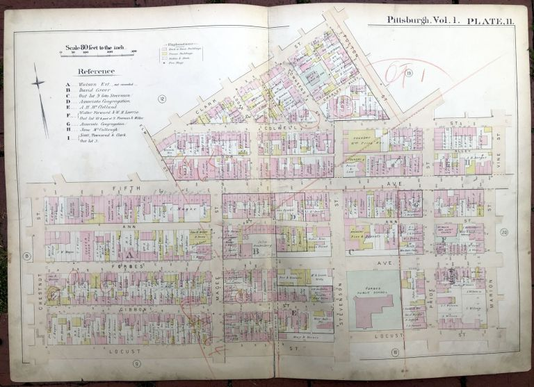 1889 large double-page color map of UPTON & HILL DISTRICT, Pittsburgh. Griffith M. Hopkins.