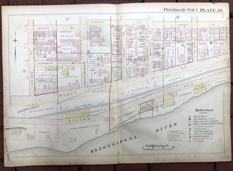 1889 large double-page color map of THE BLUFF (Duquesne University area), Pittsburgh. Griffith M. Hopkins.