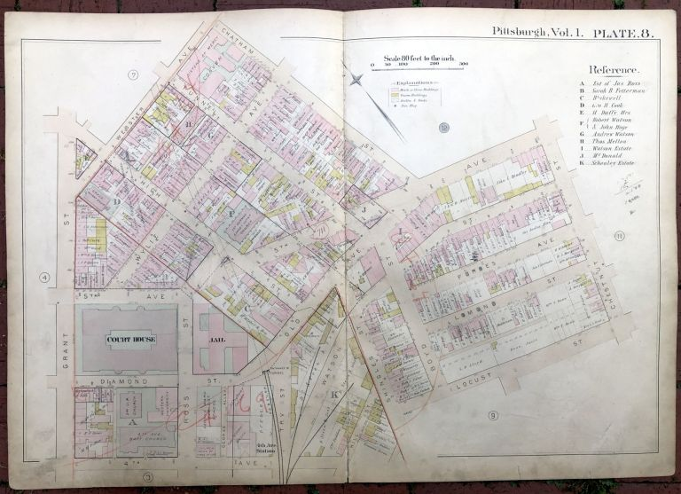 1889 large double-page color map of DOWNTOWN, CIVIC ARENA AREA, Pittsburgh. Griffith M. Hopkins.