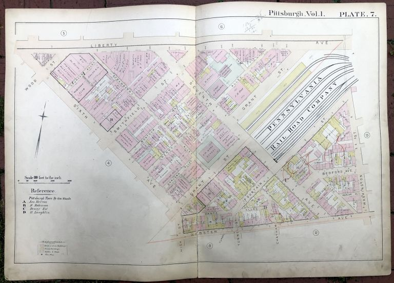 1889 large double-page color map of DOWNTOWN, Pittsburgh. Griffith M. Hopkins.