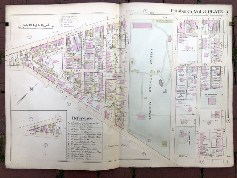 1890 large double-page color linen-backed map of GARFIELD, LAWRENCEVILLE, ARSENAL, Pittsburgh. G. M. Hopkins.