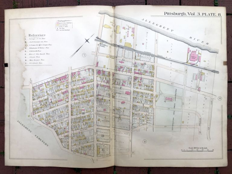 1890 large double-page color linen-backed map of LAWRENCEVILLE, Pittsburgh. G. M. Hopkins.