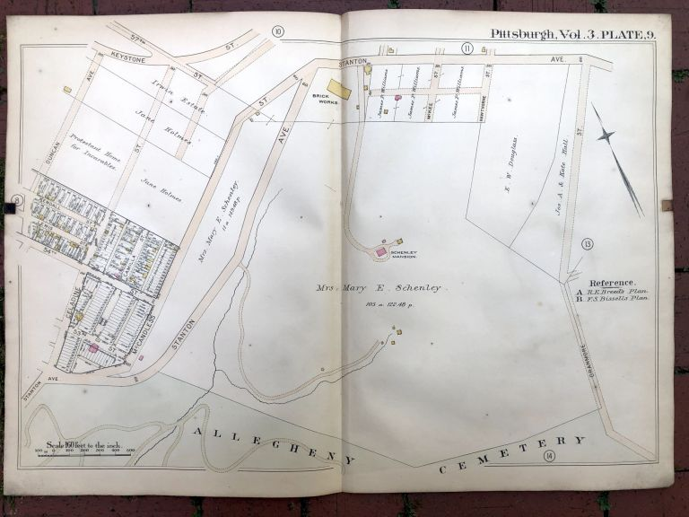 1890 large double-page color linen-backed map of STANTON HEIGHTS, Pittsburgh. G. M. Hopkins.