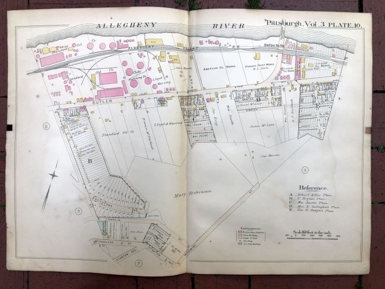 1890 large double-page color linen-backed map of LAWRENCEVILLE, STANTON HEIGHTS, Pittsburgh. G. M. Hopkins.