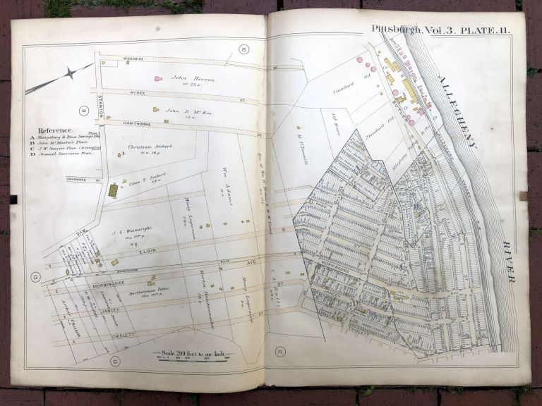 1890 large double-page color linen-backed map of MORNINGSIDE, STANTON HEIGHTS, Pittsburgh. G. M. Hopkins.
