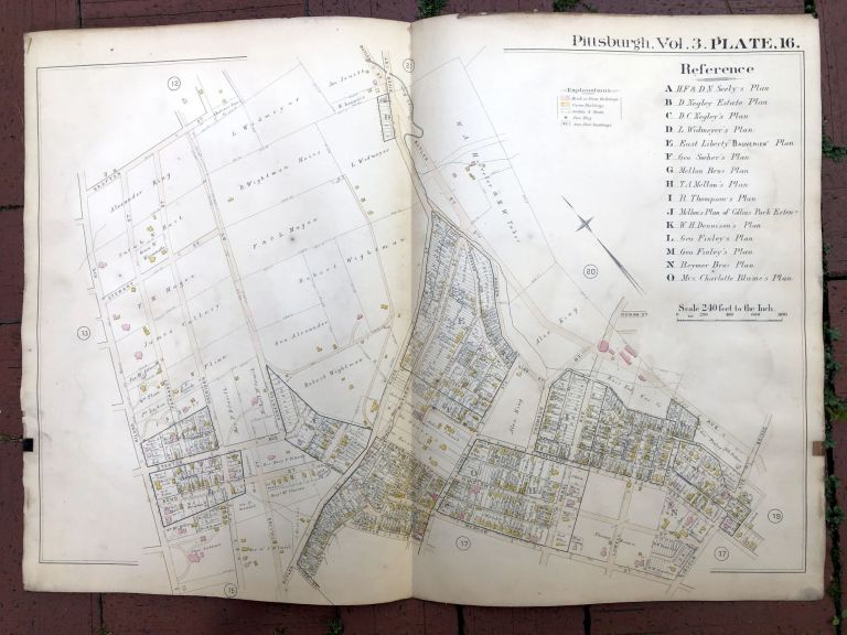 1890 large double-page color linen-backed map of HIGHLAND PARK, LINCOLN, Pittsburgh. G. M. Hopkins.