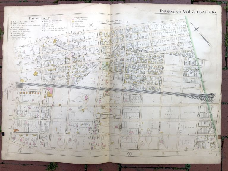 1890 large double-page color linen-backed map of N. POINT BREEZE, HOMEWOOD, Pittsburgh. G. M. Hopkins.