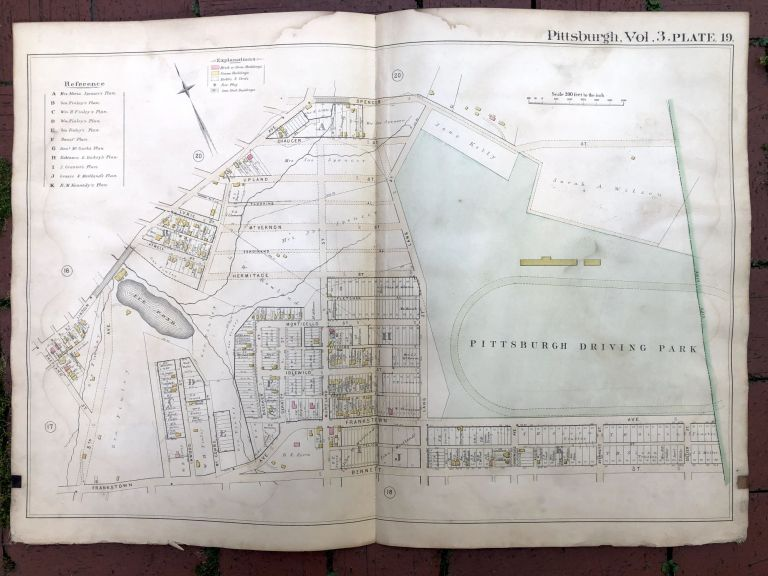 1890 large double-page color linen-backed map of HOMEWOOD, Pittsburgh. G. M. Hopkins.