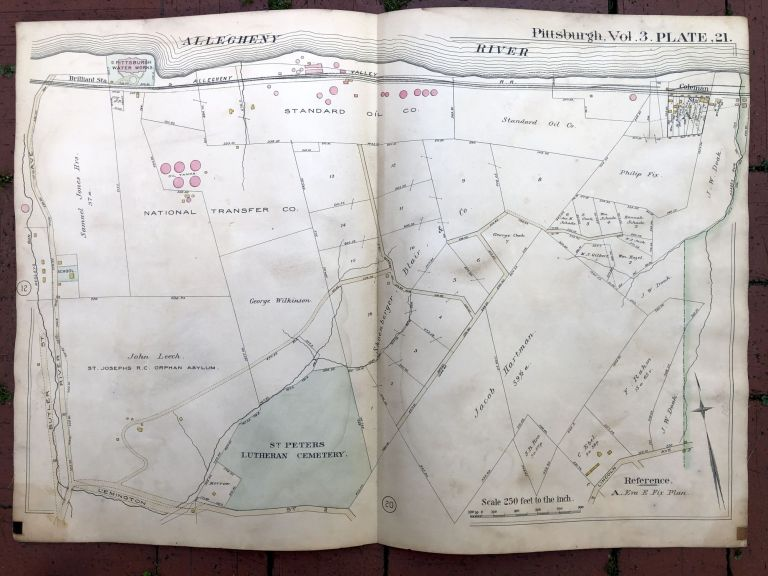 1890 large double-page color linen-backed map of LINCOLN-LEMINGTON, Pittsburgh. G. M. Hopkins.