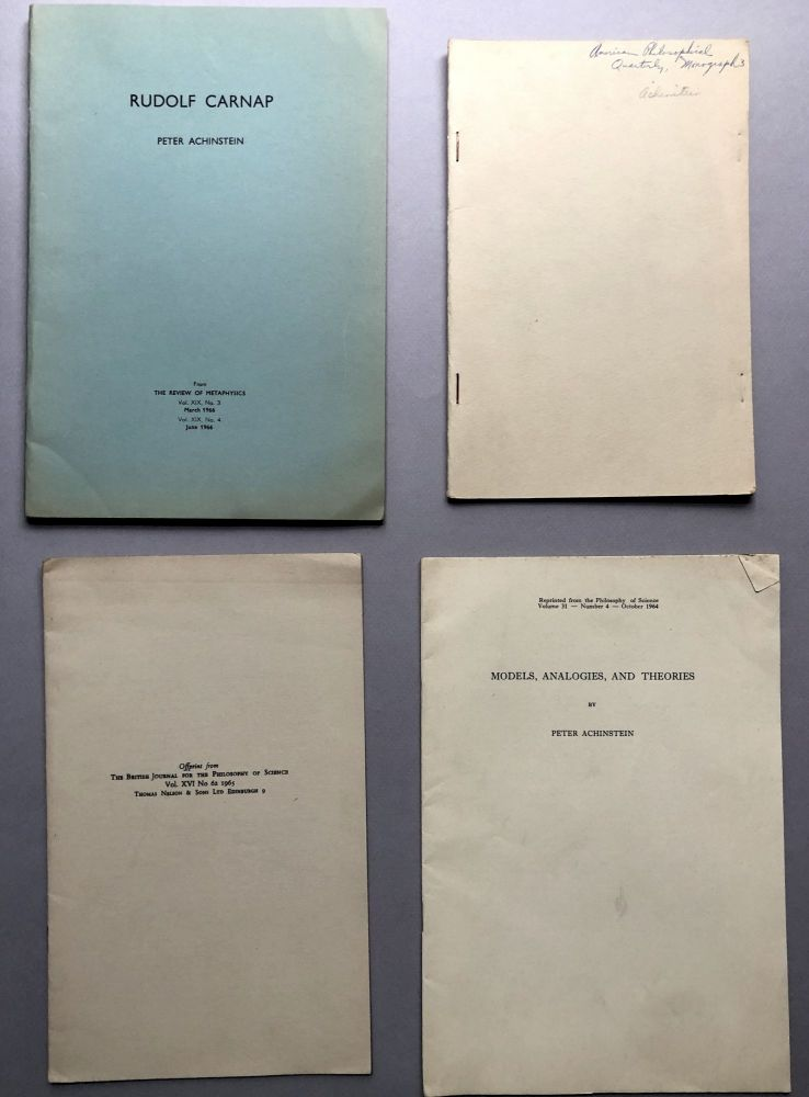 4 offprints of articles, from the collection of Wilfrid Sellars: Rudolf Carnap (1966), Explanation (1977?), Theoretical Models (1965), Models, Analogies, and Theories. Peter Achenstein.