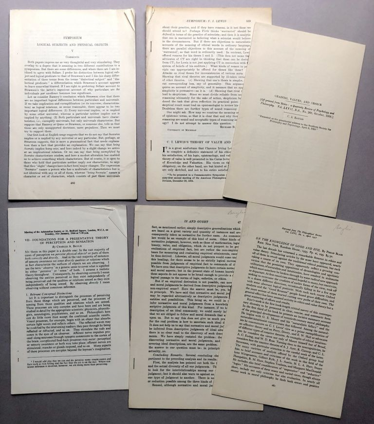 """6 offprints of articles and reviews from the collection of Wilfrid Sellars: Review of Blair's """"On the Knowledge of Good and Evil"""" (1957), Grading, Values, and Choice (1958), Review of Korner's Conceptual Thinking (1955), Foundations for a Presentative Theory of Perception and Sensation (1966), C. I. Lewis's Theory of Value and Ethics (1964), Symposium on Logical Subjects and Physical Objects (ND). Charles A. Baylis."""