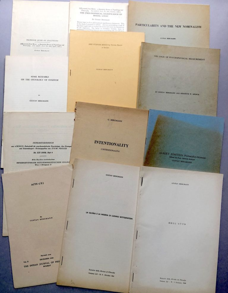 Group of 41 offprints of articles and reviews on philosophy, syntax, ontology, logic, logical positivism from the collection of Wilfrid Sellars. Gustav Bergmann.