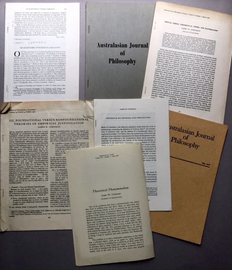 Group of 7 offprints on philosophy from the collection of Wilfrid Sellars: Might a Toothache but there be no Toothache? (1977), Chisholm on Sensing and Perceiving (1975), Theoretical Phenomenalism (1973), Mental Terms, Theoretical Terms and Materialism (1968)Foundational Versus Nonfoundational Theories of Empircal Justification (1977), Private Languages and Private Entities (1968), On Acceptability without Certainty (1974). James Cornman.