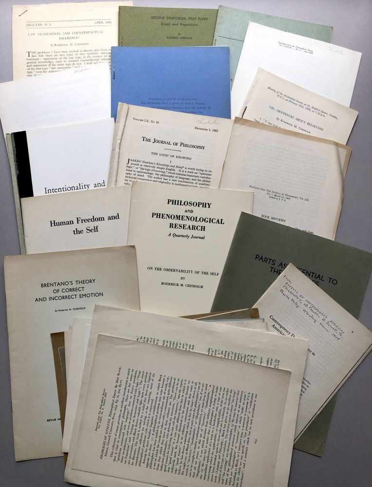Group of 25 offprints and reviews on philosophy, logic, analysis, language and logic from the collection of Wilfrid Sellars. Roderick M. Chisholm.