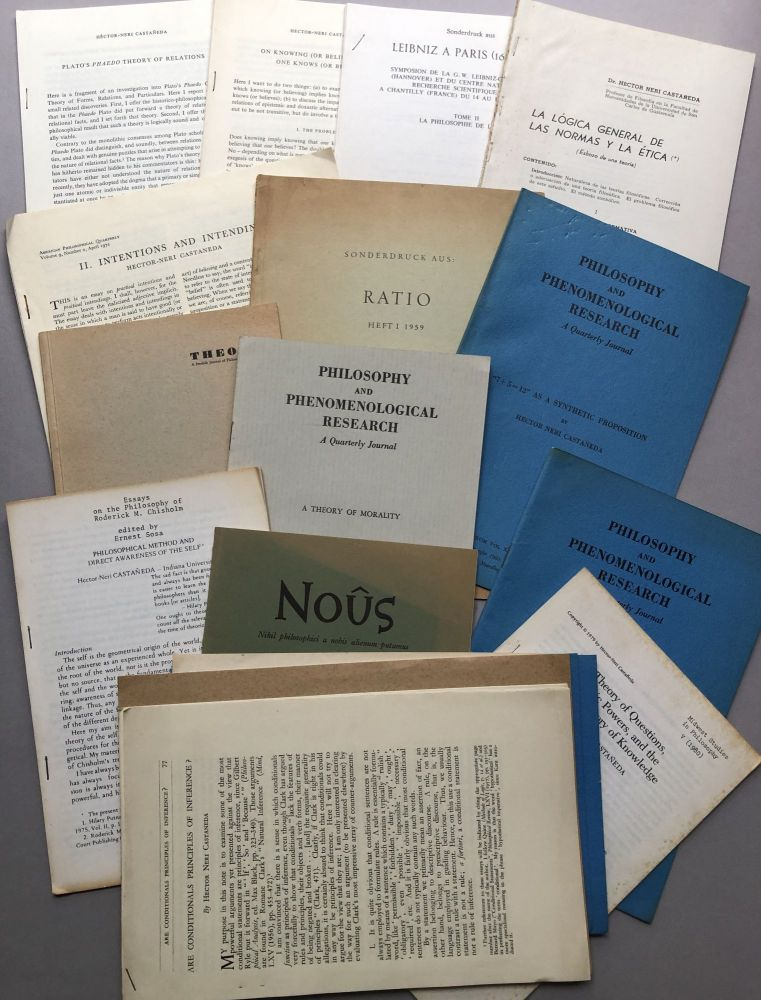 Group of 16 offprints of articles on philosophy, logic, reasoning, etc., from the collection of Wilfrid Sellars. Hector-Neri Castaneda.