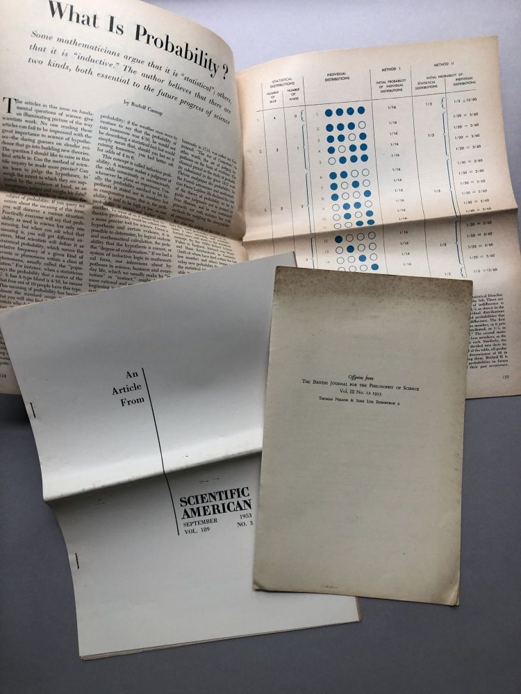 2 1953 offprints: What is Probability? (Scientific American, Sept. 1953), On the Comparative Concept of Confirmation (BJPS, 1953). Rudolf Carnap.