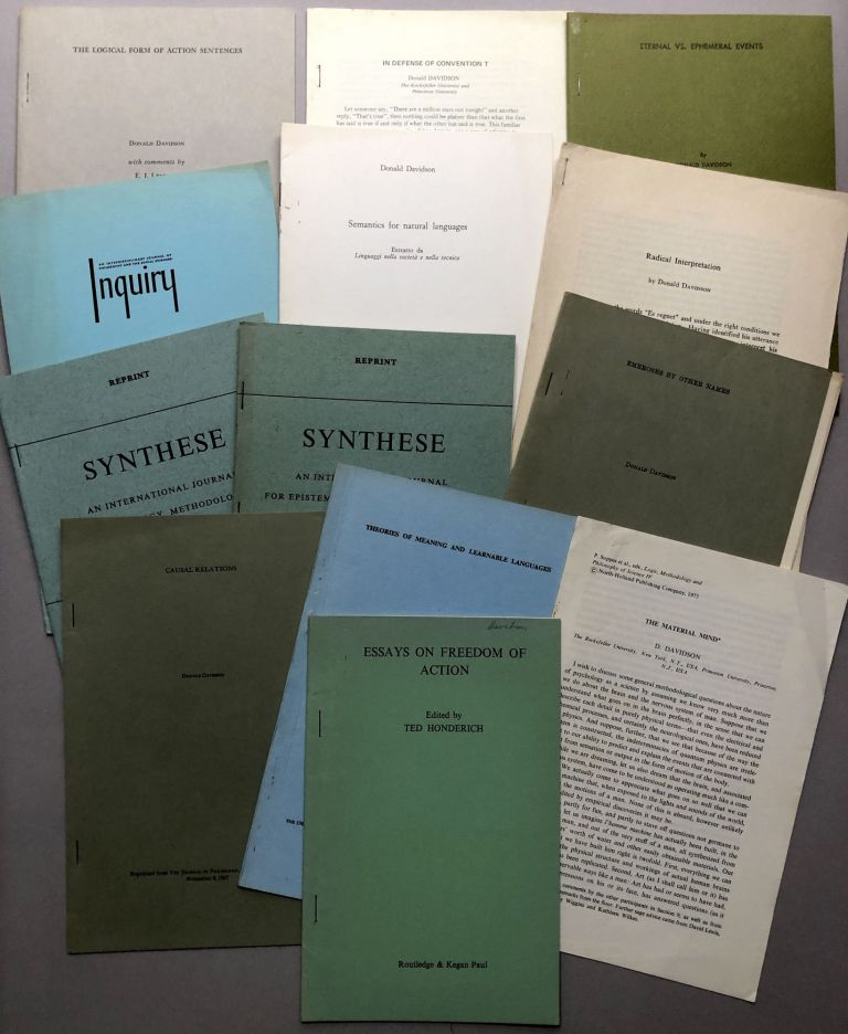 13 offprints of articles on philosophy, language theory, logic, truth and meaning from the collection of Wilfrid Sellars. Donald Davidson.