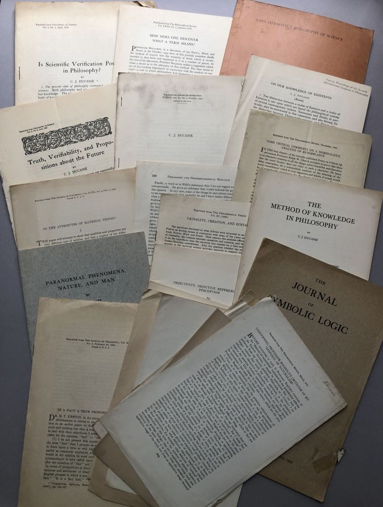 Group of 20 offprints on philosophy of mind, aesthetics, paranormal experiences, etc., from the collection of Wilfrid Sellars. C. J. Ducasse.