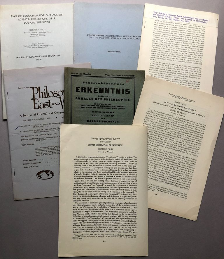 Group of 7 offprints of philosophy articles from the collection of Wilfrid Sellars: Matter Still Largely Material (1962), On the Vindication of Induction (1961), Wahrscheinlichkeit und Erfahrung (1930), Critique of Intuition According to Scientific, Empiricism (1958), Why Ordinary Language Needs Reforming (1961), Functionalism, Psychological Theory, and the Uniting Sciences: Some Discussion Remarks (1955), Aims of Education for our Age of Science: Reflections of a Logical Empiricist. Herbert Feigl.