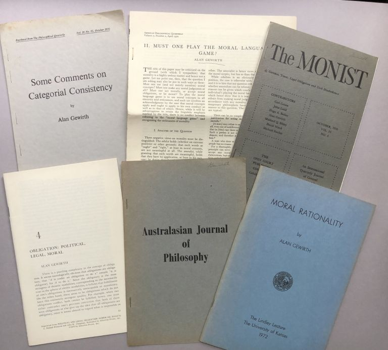 6 offprints of articles on philosophy, rationalism, ethics and morality from the collection of Wilfrid Sellars. Alan Gewirth.