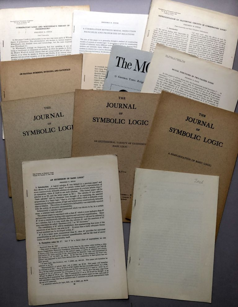 12 offprints of articles on philosophy, logic, mathematics, etc., from the collection of Wilfrid Sellars. Frederic B. Fitch.