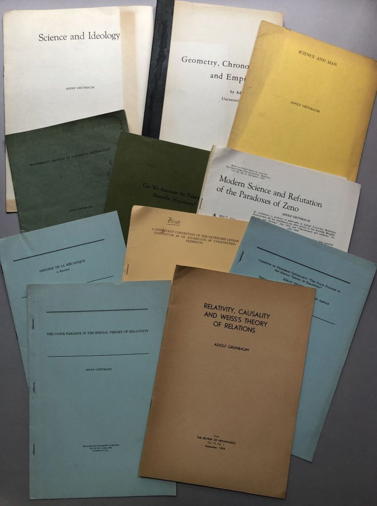 Group of 40 offprints of articles, book reviews and essays on philosophy, philosophy of science, logic, space, time, geometry, Zeno, etc., from the collection of colleague Wilfrid Sellars. Adolf Grunbaum.