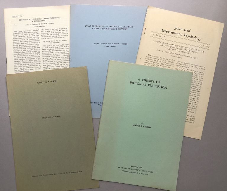 5 offprints of articles on visual perception, psychology and philosophy of forms and space from the collection of Wilfrid Sellars: A Theory of Pictorial Perception (1954), What is a Form? (1951), A Method of Controlling Stimulation for the Study of Space Perception: the Optical Tunnel (1955), What is Learned in Perceptual Learning? A Reply to Professor Postman (1955), Perceptual Learning: Differentiation or Enrichment? (1955). James J. Gibson.