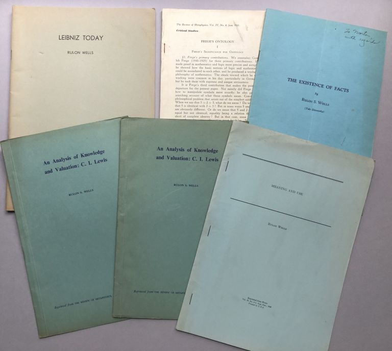 5 offprints of articles on philosophy and linguistics from the collection of Wilfrid Sellars: An Analysis of Knowledge and Valuation: C. I. Lewis (1949, 2 copies), The Existence of Facts (1949, possibly inscribed), Frege's Ontology (1951), Leibniz Today (1957), Meaning and Use (1954). Rulon S. III Wells.