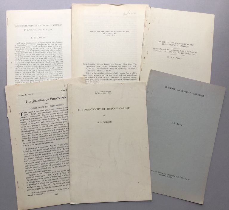 6 offprints on linguistics, philosophy, semantics, etc., from the collection of Wilfrid Sellars: Symposium: What is the Rule of Language? (1950s); Review of von Wright's Logical Studies (1959), The Identity of Indiscernibles and the Symmetrical Universe (1953), Designation and Description (1953), The Philosophy of Rudolf Carnap (1965), Modality and Identity: A Defense (1965). N. L. Wilson.