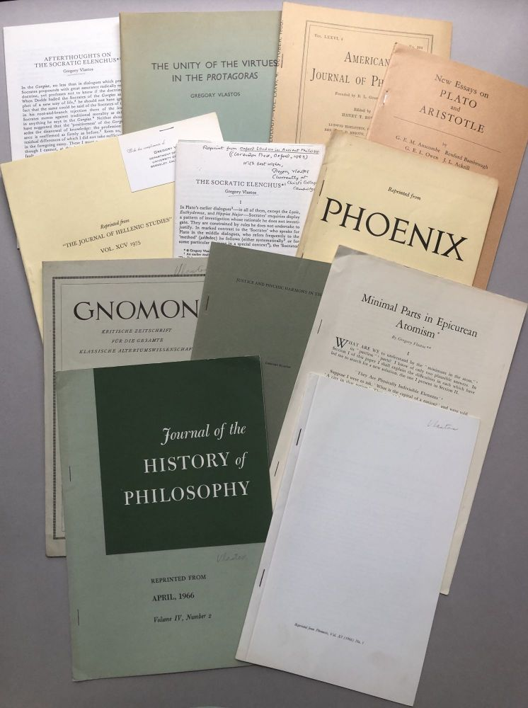 Group of 12 offprints on philosophy and the classics, from the collection of Wilfrid Sellars. Gregory Vlastos.