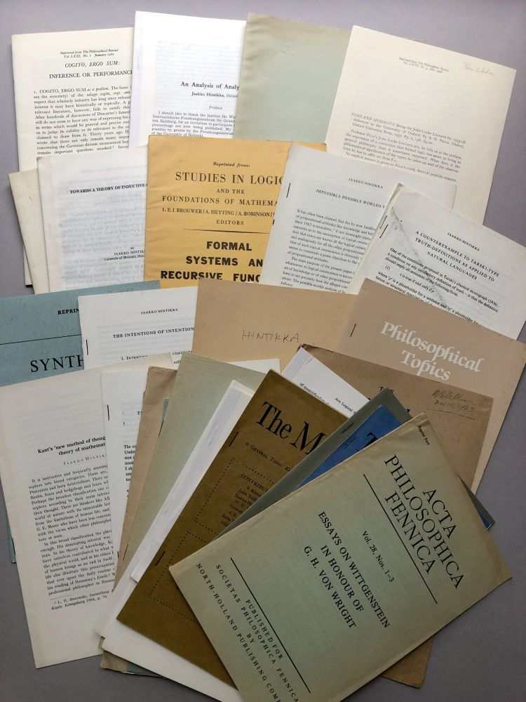 Group of 31 offprints of articles on logic, philosophy, etc, from the collection of Wilfrid Sellars. Jaakko Hintikka.