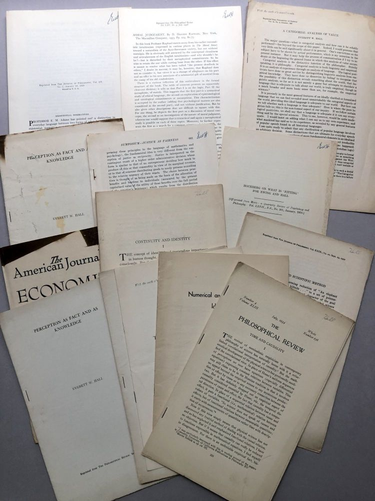 Group of 14 offprints and reviews on philosophy, logic, etc., from the collection of Wilfrid Sellars. Everett W. Hall.