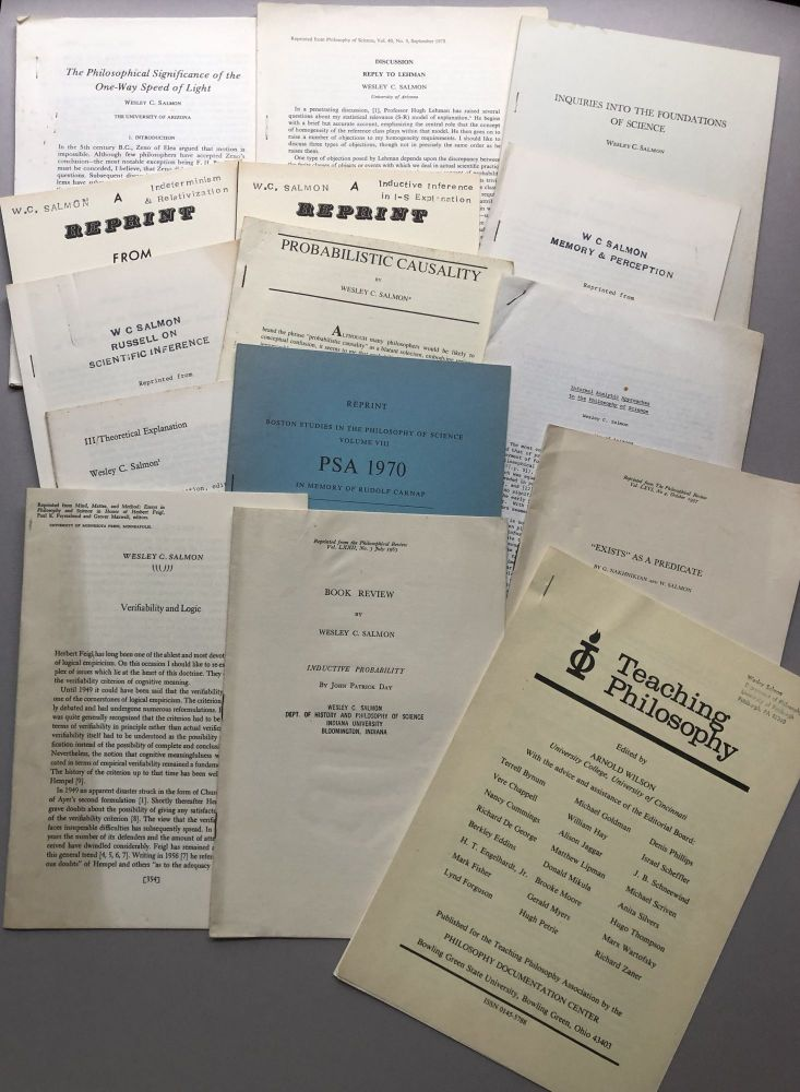 Group of 30 offprints of reviews and articles on philosophy, philosophy of science, logic, etc., from the collection of Wilfrid Sellars. Wesley C. Salmon.