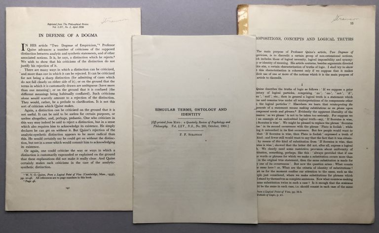 3 offprints from the collection of Wilfrid Sellars: Propositions, Concepts and Logical Truths (1957), Singular Terms, Ontology and Identity (1956), In Defense of Dogma (1956). P. F. Strawson.