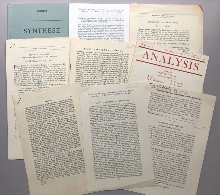 9 offprints of articles on philosophy from the collection of Wilfrid Sellars. J. J. C. Smart.