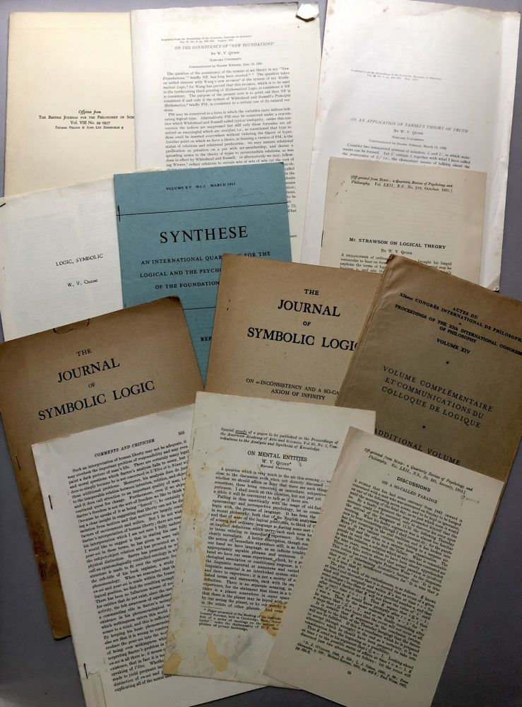 11 offprints of articles on philosophy from the collection of Wilfrid Sellars. W. V. Quine.