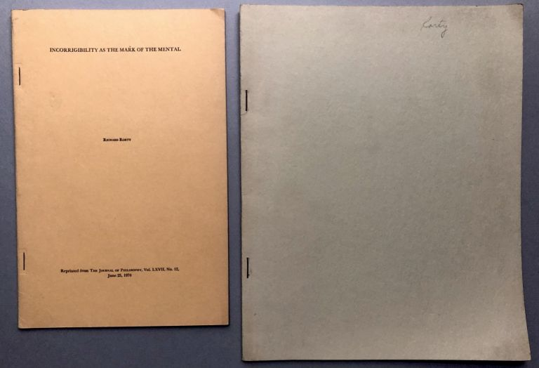 2 offprints of articles, from the collection of Wilfrid Sellars: Incorrigibility as the Mark of the Mental (1970), Wittgenstein, Privileged Access and Incommunicability (1970). Richard Rorty.