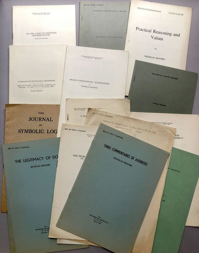 15 offprints on philosophy, philosophy of science, etc. from the collection of colleague Wilfrid Sellars. Nicholas Rescher.