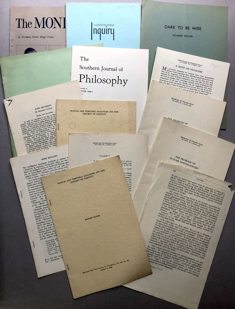 13 offprints on philosophy, metaphysics, etc., from the collection of Wilfrid Sellars. Richard Taylor.
