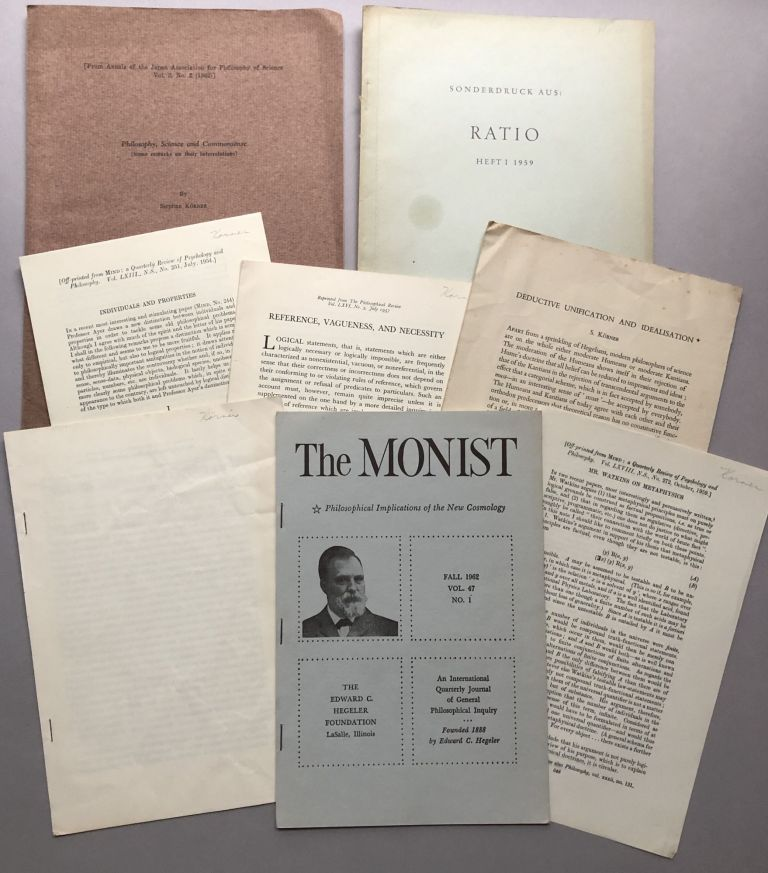 Group of 8 offprints of articles and reviews on philosophy and kindred subjects, from the collection of Wilfrid Sellars. Stephan Körner.