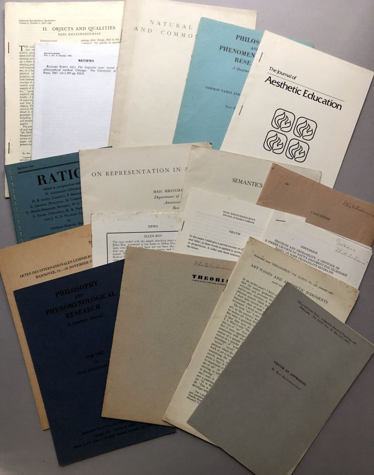 Group of 17 offprints of articles on philosophy, etc., from the collection of Wilfrid Sellars. Haig Khatchadourian.