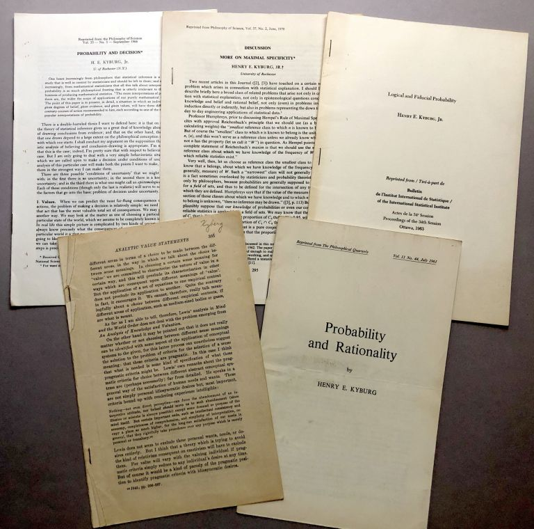 5 offprints of articles on philosophy, probability, logic, etc, from the collection of Wilfrid Sellars: Logical and Fiducial Probability (1963), More on Maximal Specificity (1970), , Probability and Rationality (1961), Probability and Decision (1966), The Justification of Induction (1957). Henry E. Kyburg.