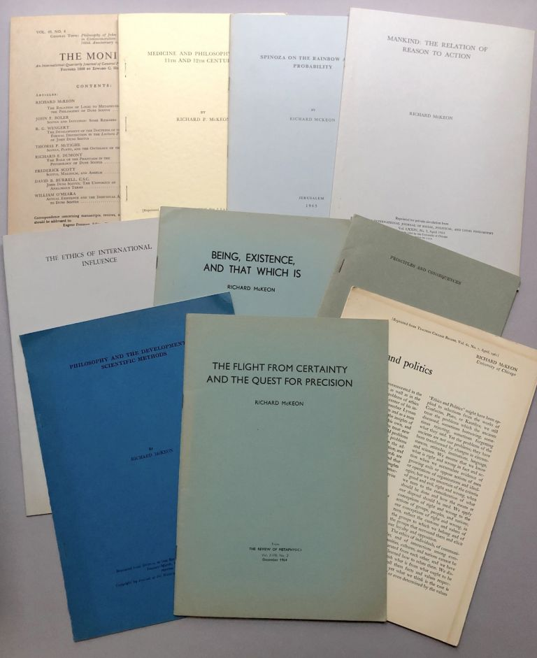 10 offprints of articles on philosophy, ethics, classics, etc., from the collection of Wilfrid Sellars. Richard McKeon.