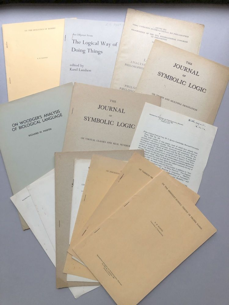 Group of 17 offprints of essays, articles and reviews on logic, philosophy, truth, etc., from the collection of Wilfrid Sellars. R. M. Martin, Richard Milton.