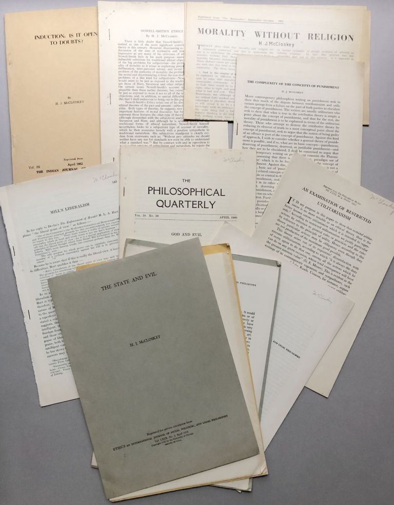 Group of 13 offprints of articles on philosophy, ethics and morality, good and evil, etc., from the collection of Wilfrid Sellars. H. J. McCloskey, Henry John.