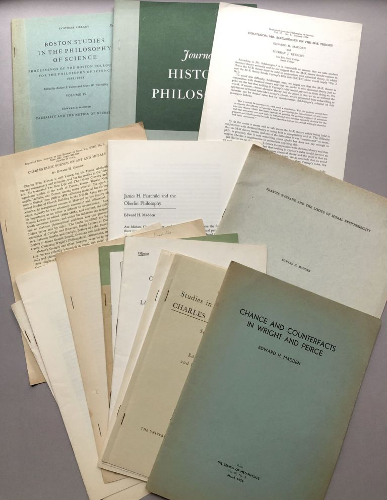 Group of 16 offprints on philosophy, history of philosophy of science, aesthetics, and related fields, from the collection of Wilfrid Sellars. Edward H. Madden.