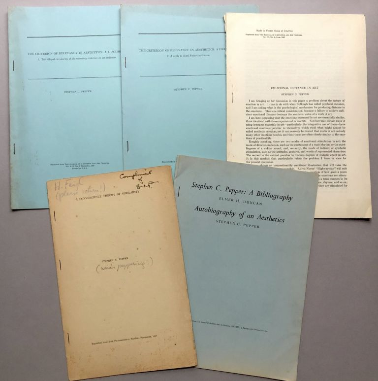 Group of 6 offprints on philosophy, aesthetics, etc., from the collection of Wilfrid Sellars. Stephen C. Pepper.