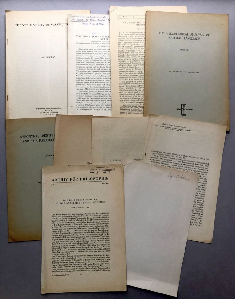 Group of 11 offprints of reviews, articles and essays on philosophy, philosophy of science and related subjects from the collection of Wilfrid Sellars. Arthur Pap.